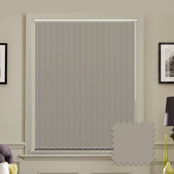 Made to measure vertical blinds in Splash Oyster Cream plain fabric - Just Blinds